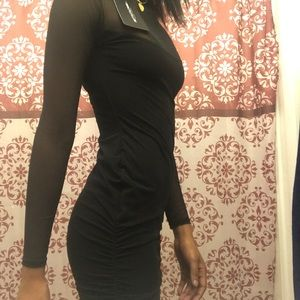 2a953e2604a PrettyLittleThing Dresses - Nera Black Mesh High Neck Bodycon Dress